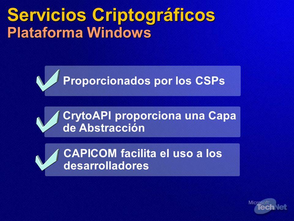 Servicios Criptográficos Plataforma Windows Proporcionados por los CSPs CAPICOM facilita el uso a los desarrolladores CrytoAPI proporciona una Capa de