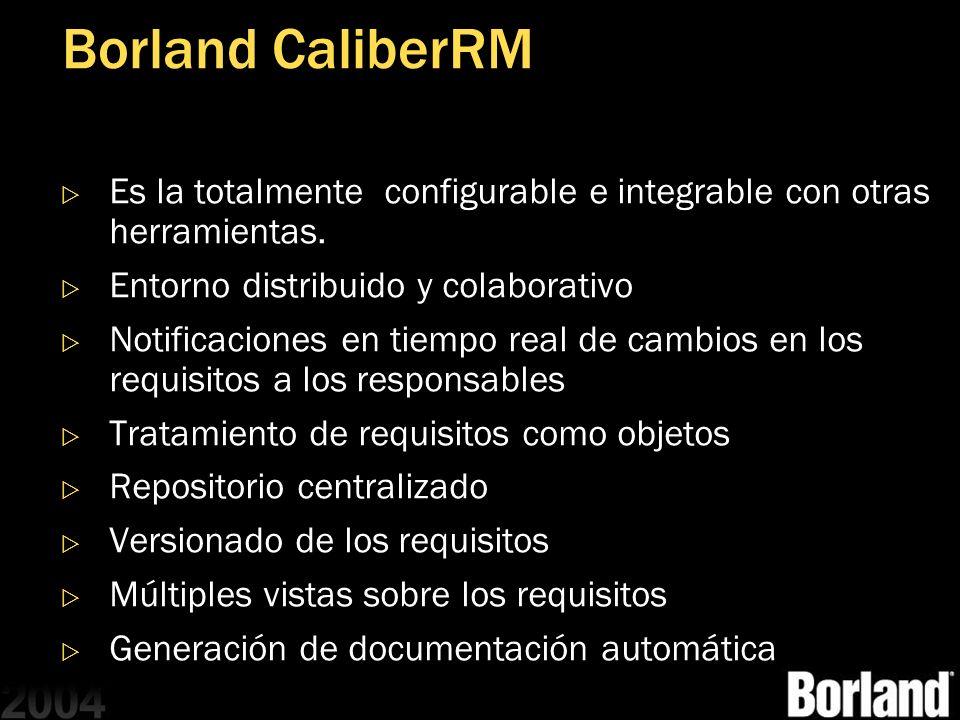 Borland CaliberRM Es la totalmente configurable e integrable con otras herramientas. Entorno distribuido y colaborativo Notificaciones en tiempo real