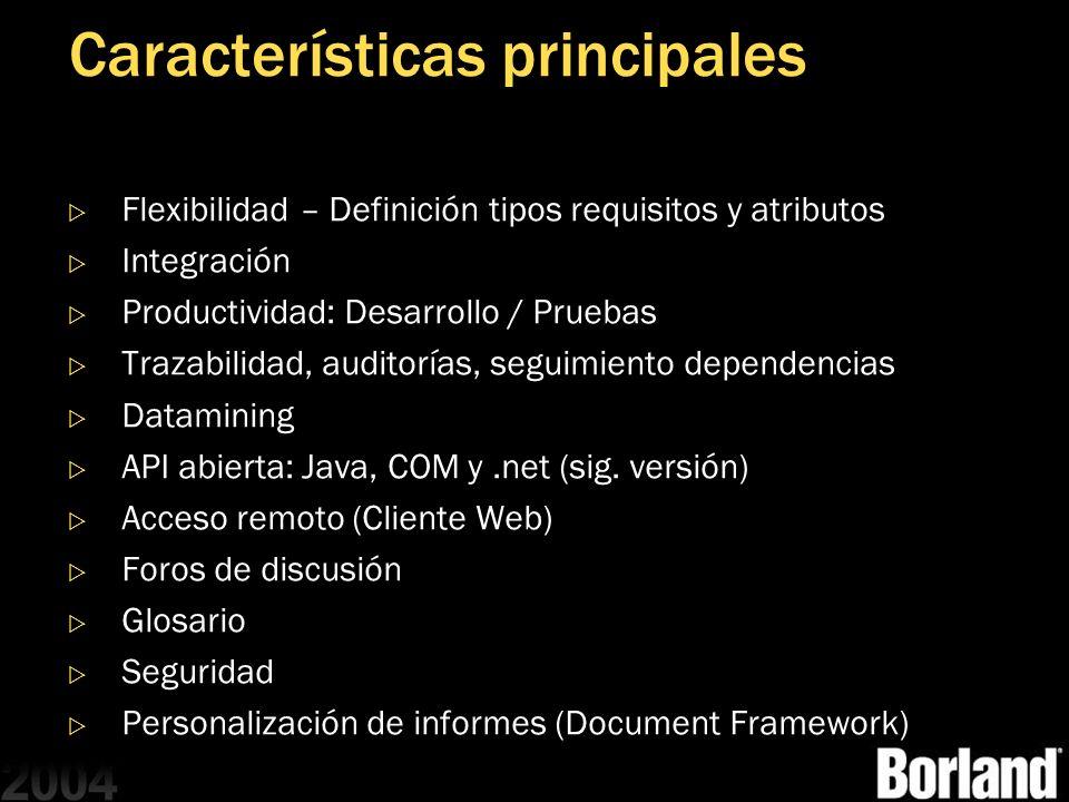 Características principales Flexibilidad – Definición tipos requisitos y atributos Integración Productividad: Desarrollo / Pruebas Trazabilidad, audit