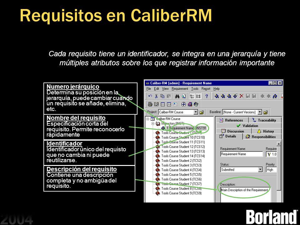 Requisitos en CaliberRM Cada requisito tiene un identificador, se integra en una jerarquía y tiene múltiples atributos sobre los que registrar informa