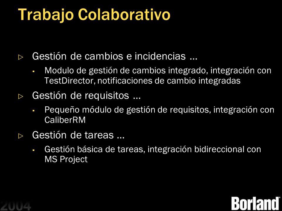 Trabajo Colaborativo Gestión de cambios e incidencias … Modulo de gestión de cambios integrado, integración con TestDirector, notificaciones de cambio
