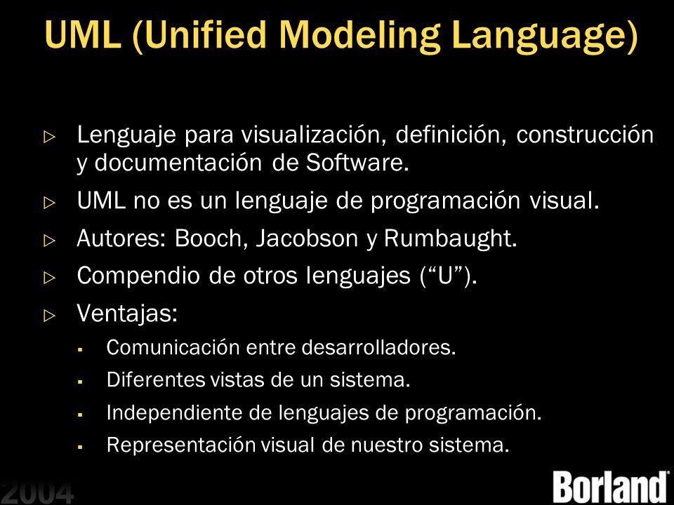 UML (Unified Modeling Language) Lenguaje para visualización, definición, construcción y documentación de Software. UML no es un lenguaje de programaci