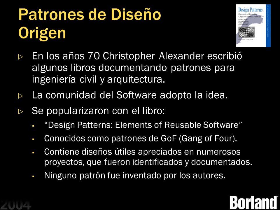 Patrones de Diseño Origen En los años 70 Christopher Alexander escribió algunos libros documentando patrones para ingeniería civil y arquitectura. La