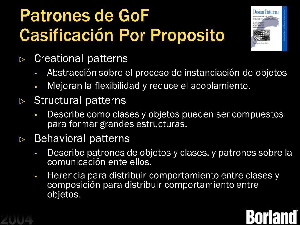Patrones de GoF Casificación Por Proposito Creational patterns Abstracción sobre el proceso de instanciación de objetos Mejoran la flexibilidad y redu