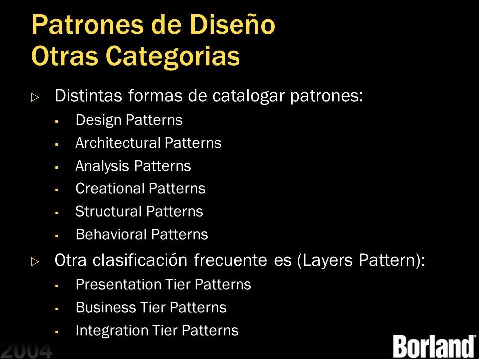 Patrones de Diseño Otras Categorias Distintas formas de catalogar patrones: Design Patterns Architectural Patterns Analysis Patterns Creational Patter