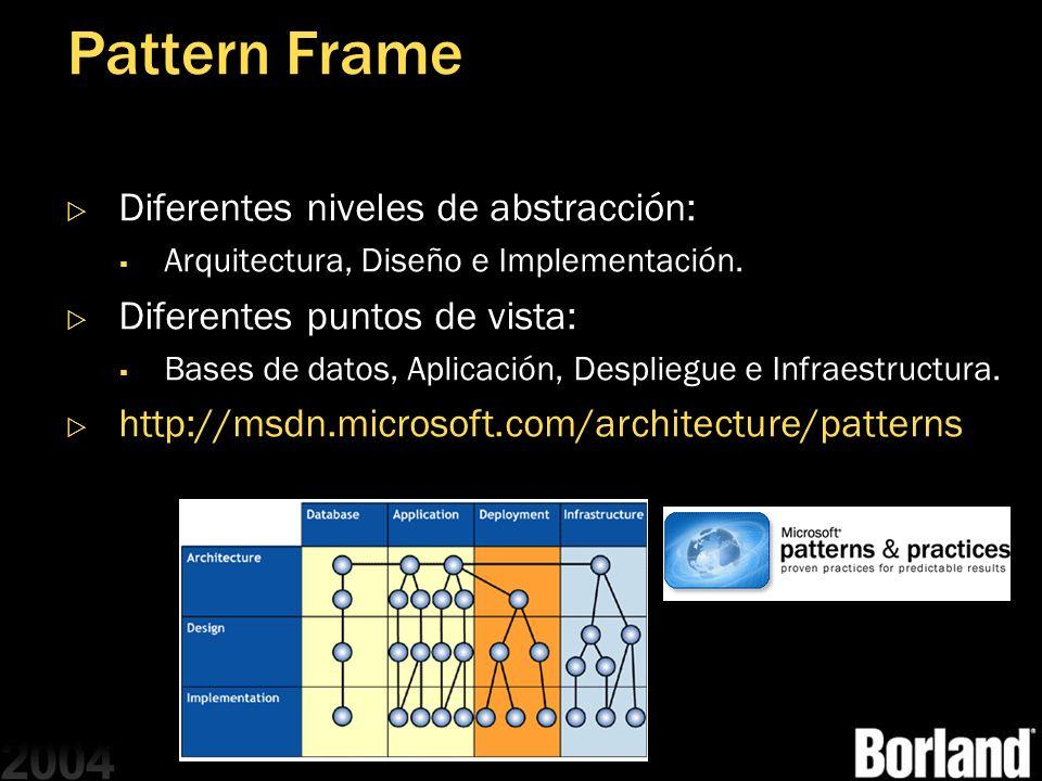 Pattern Frame Diferentes niveles de abstracción: Arquitectura, Diseño e Implementación. Diferentes puntos de vista: Bases de datos, Aplicación, Despli