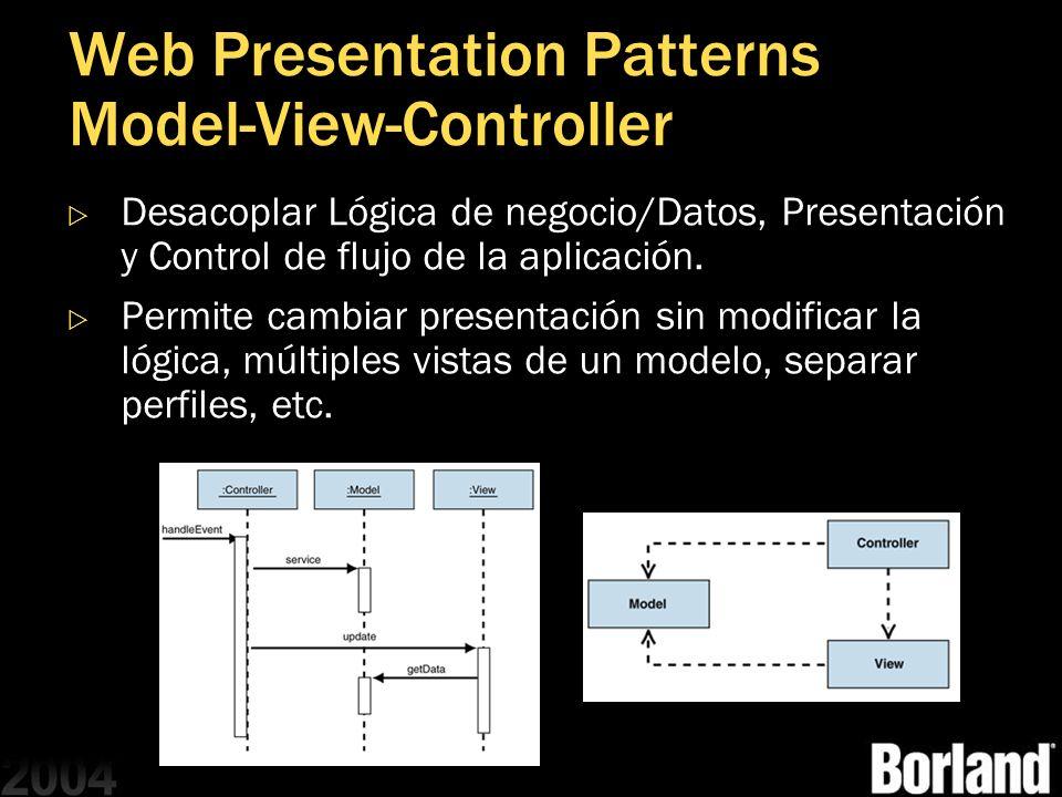 Web Presentation Patterns Model-View-Controller Desacoplar Lógica de negocio/Datos, Presentación y Control de flujo de la aplicación. Permite cambiar