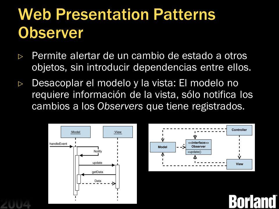 Web Presentation Patterns Observer Permite alertar de un cambio de estado a otros objetos, sin introducir dependencias entre ellos. Desacoplar el mode