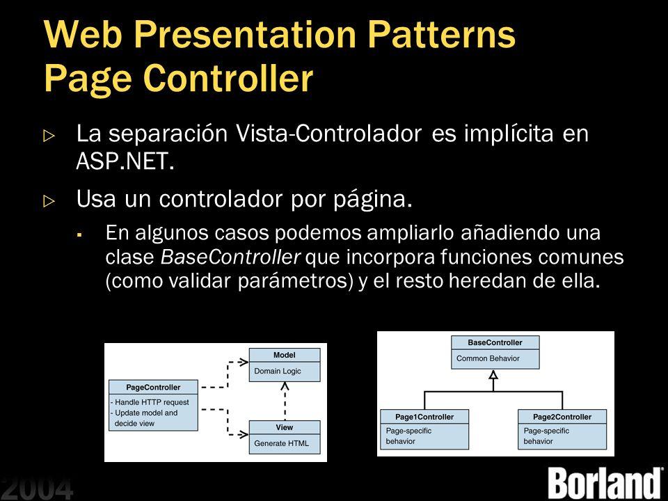 Web Presentation Patterns Page Controller La separación Vista-Controlador es implícita en ASP.NET. Usa un controlador por página. En algunos casos pod