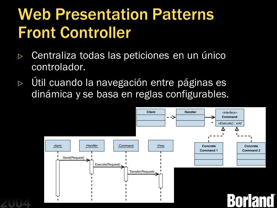 Web Presentation Patterns Front Controller Centraliza todas las peticiones en un único controlador. Útil cuando la navegación entre páginas es dinámic