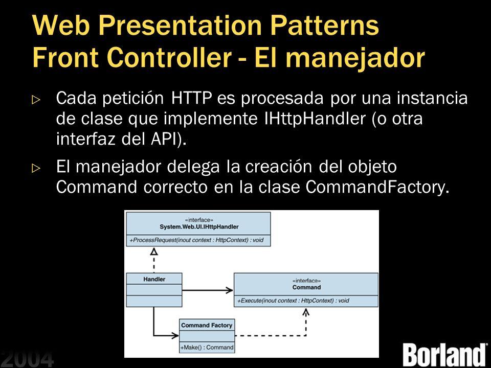Web Presentation Patterns Front Controller - El manejador Cada petición HTTP es procesada por una instancia de clase que implemente IHttpHandler (o ot