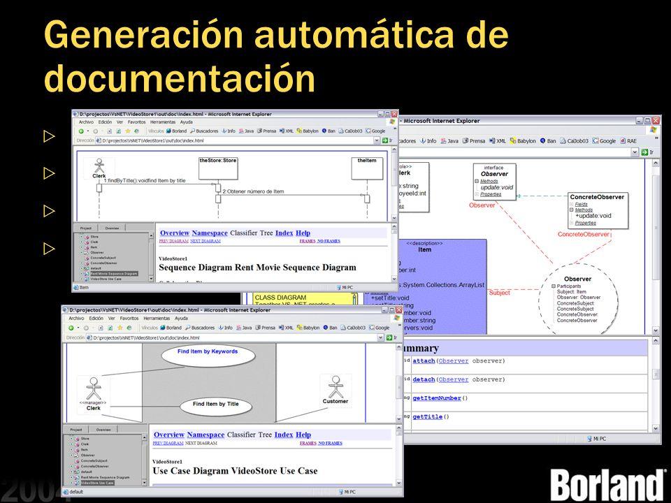 Generación automática de documentación Muestra cada dato introducido Siempre esta actualizada Incluye todos nuestros diagramas Es navegable