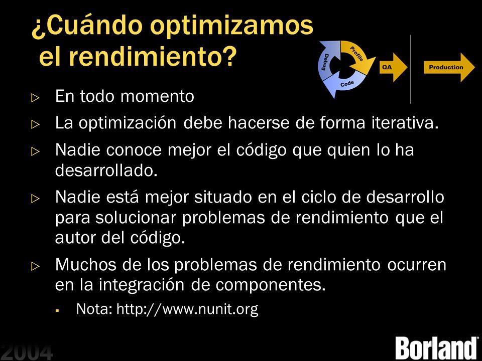 ¿Cuándo optimizamos el rendimiento? En todo momento La optimización debe hacerse de forma iterativa. Nadie conoce mejor el código que quien lo ha desa