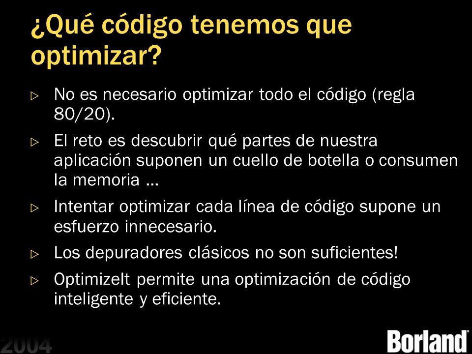 ¿Qué código tenemos que optimizar? No es necesario optimizar todo el código (regla 80/20). El reto es descubrir qué partes de nuestra aplicación supon