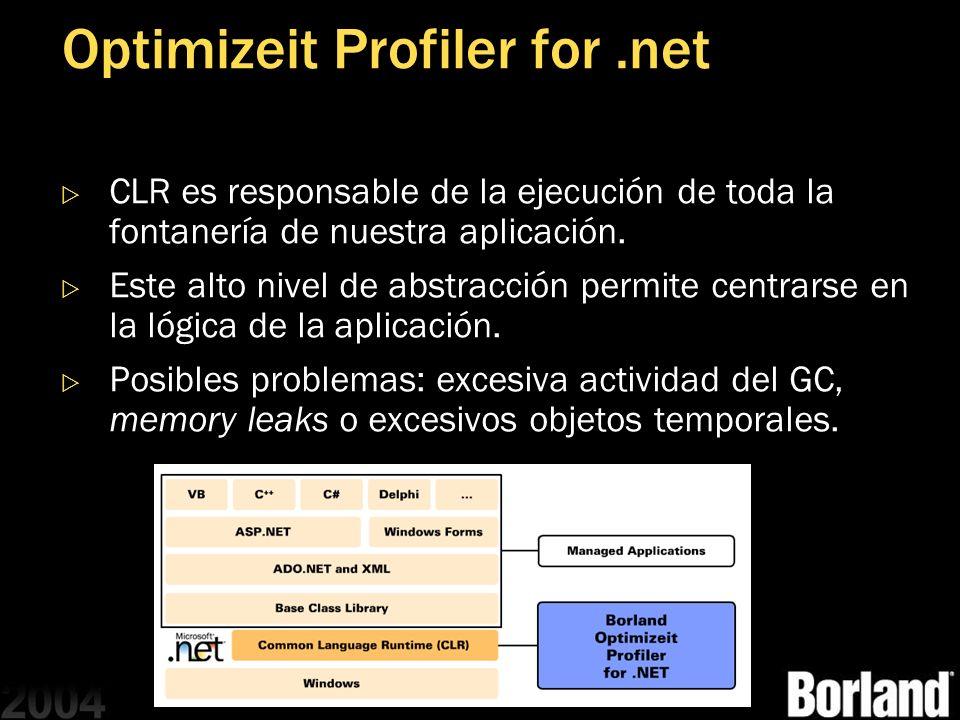 Optimizeit Profiler for.net CLR es responsable de la ejecución de toda la fontanería de nuestra aplicación. Este alto nivel de abstracción permite cen