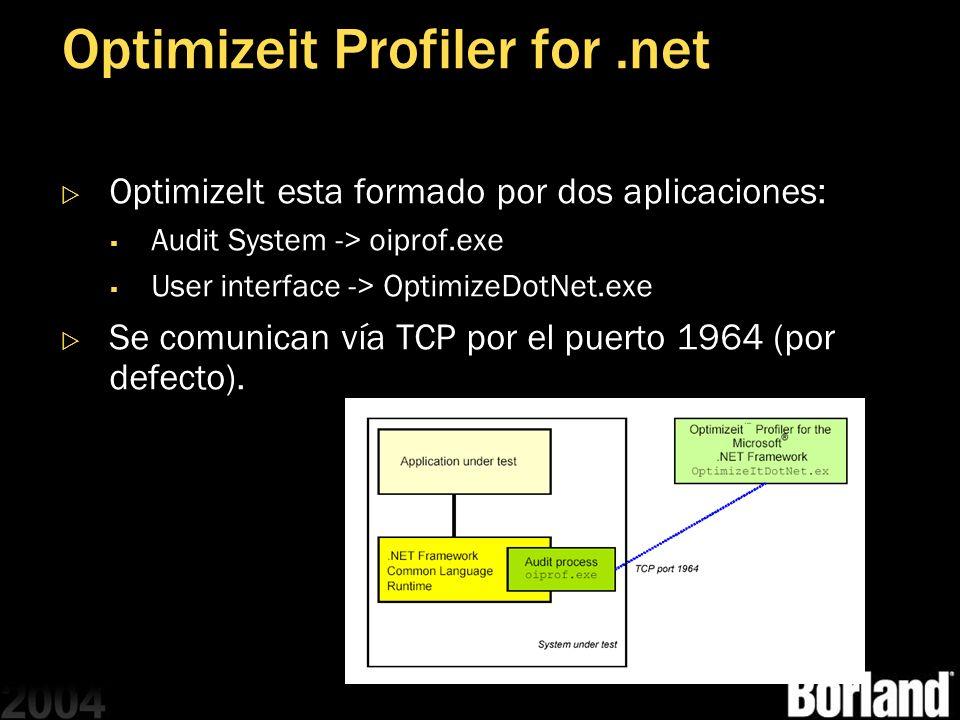 Optimizeit Profiler for.net OptimizeIt esta formado por dos aplicaciones: Audit System -> oiprof.exe User interface -> OptimizeDotNet.exe Se comunican