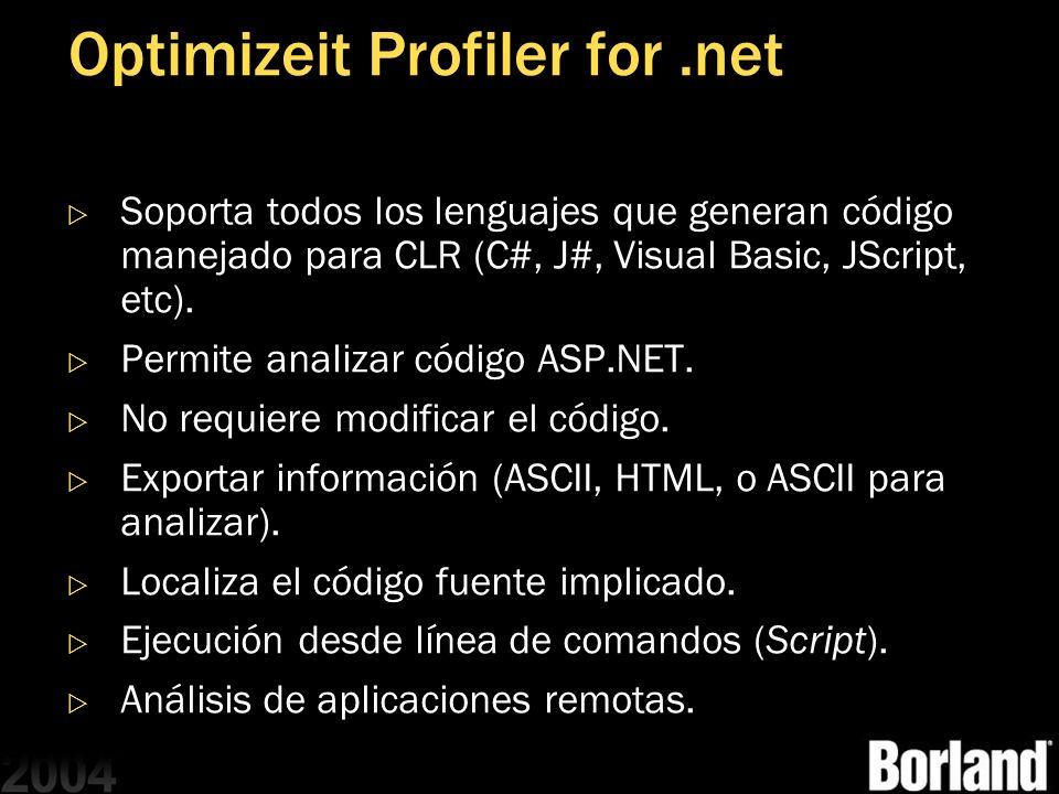 Optimizeit Profiler for.net Soporta todos los lenguajes que generan código manejado para CLR (C#, J#, Visual Basic, JScript, etc). Permite analizar có