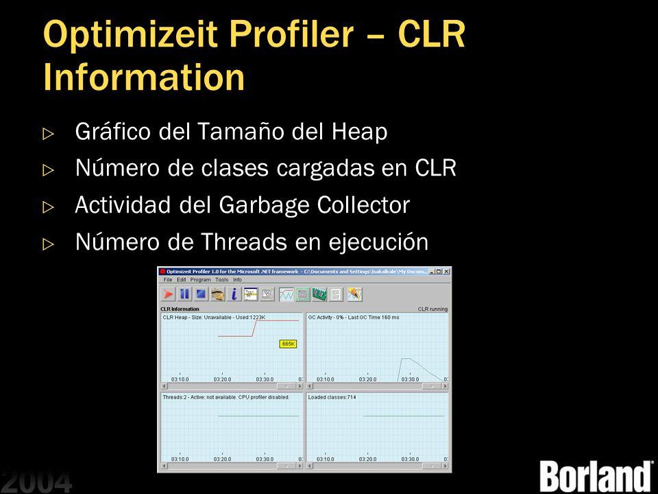 Optimizeit Profiler – CLR Information Gráfico del Tamaño del Heap Número de clases cargadas en CLR Actividad del Garbage Collector Número de Threads e