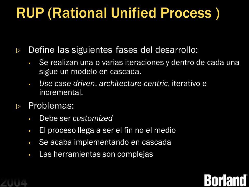 RUP (Rational Unified Process ) Define las siguientes fases del desarrollo: Se realizan una o varias iteraciones y dentro de cada una sigue un modelo
