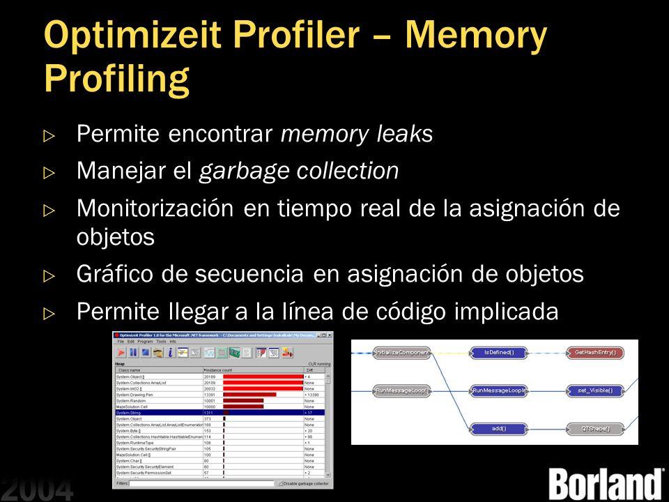 Optimizeit Profiler – Memory Profiling Permite encontrar memory leaks Manejar el garbage collection Monitorización en tiempo real de la asignación de