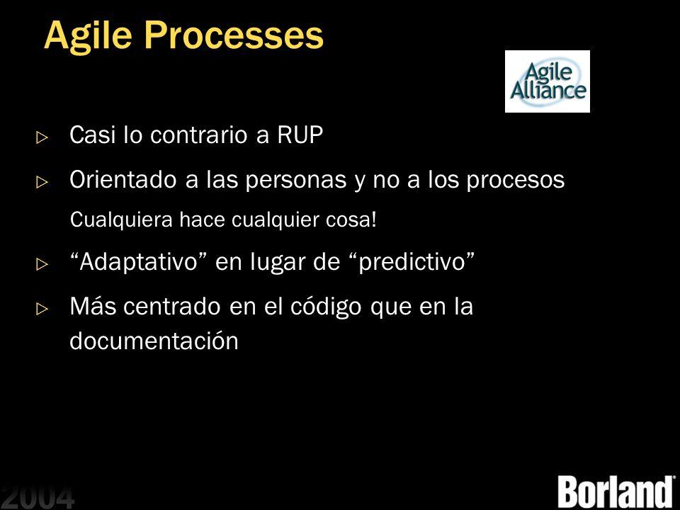 Agile Processes Casi lo contrario a RUP Orientado a las personas y no a los procesos Cualquiera hace cualquier cosa! Adaptativo en lugar de predictivo