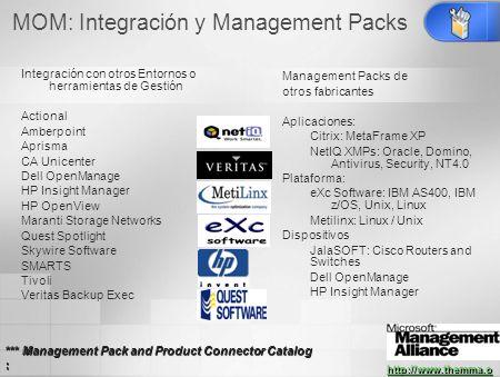 MOM: Integración y Management Packs Integración con otros Entornos o herramientas de Gestión Actional Amberpoint Aprisma CA Unicenter Dell OpenManage