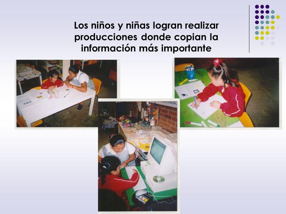 Producciones de las niñas y los niños Los niños y niñas escriben y copian sobre la información recabada
