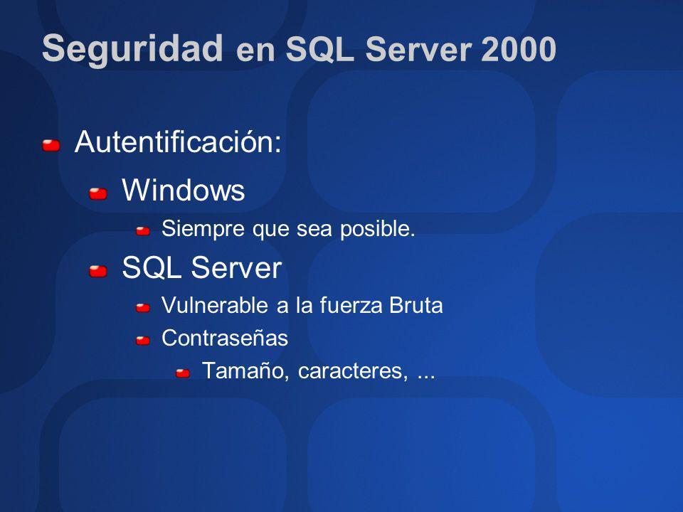 Autentificación: Windows Siempre que sea posible. SQL Server Vulnerable a la fuerza Bruta Contraseñas Tamaño, caracteres,...