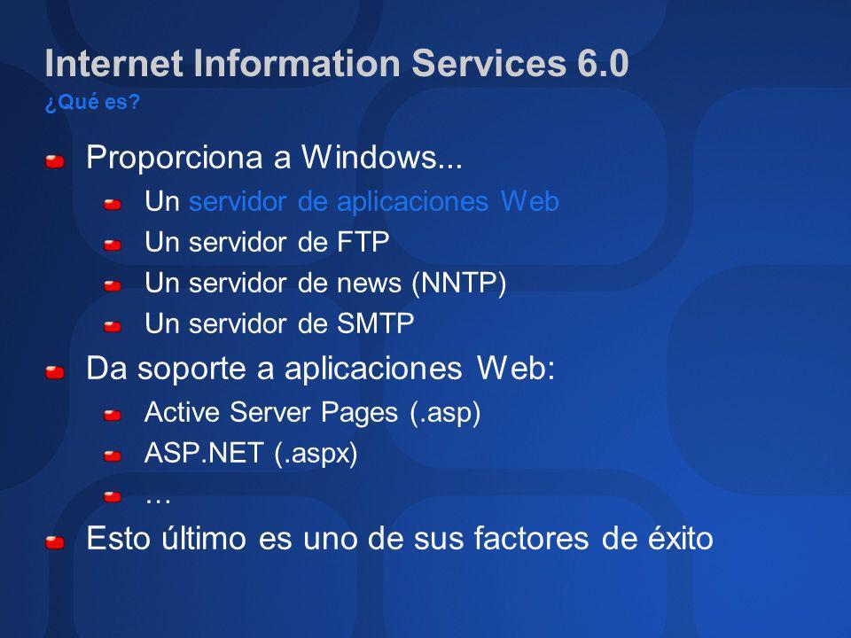 Internet Information Services 6.0 ¿Qué es? Proporciona a Windows... Un servidor de aplicaciones Web Un servidor de FTP Un servidor de news (NNTP) Un s