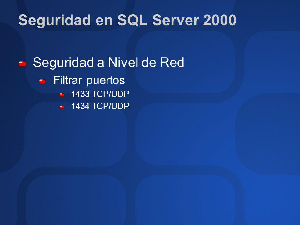 Seguridad a Nivel de Red Filtrar puertos 1433 TCP/UDP 1434 TCP/UDP
