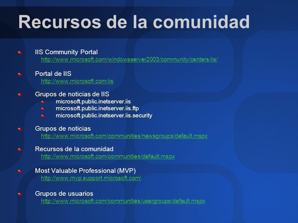 Recursos de la comunidad IIS Community Portal http://www.microsoft.com/windowsserver2003/community/centers/iis/ Portal de IIS http://www.microsoft.com