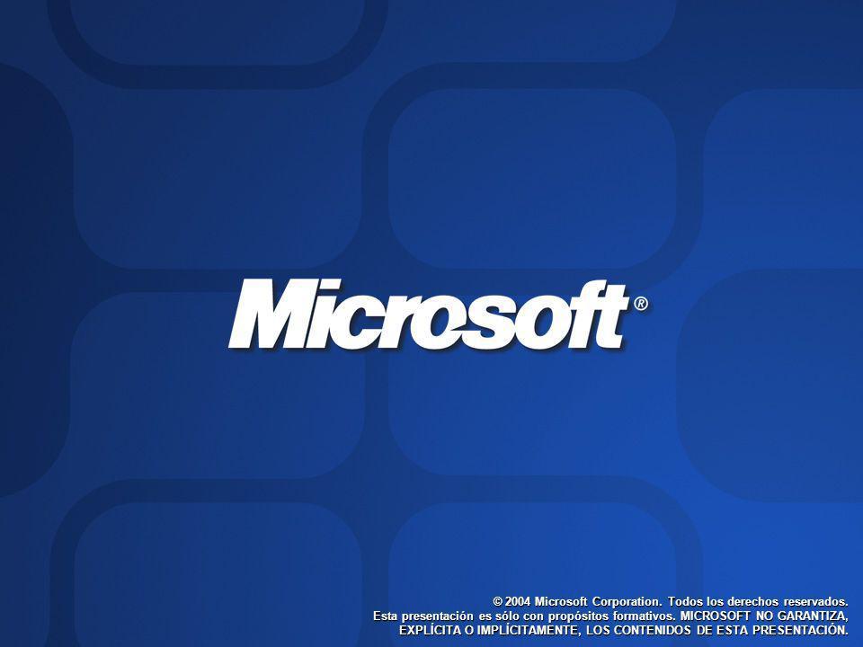 © 2004 Microsoft Corporation. Todos los derechos reservados. Esta presentación es sólo con propósitos formativos. MICROSOFT NO GARANTIZA, EXPLÍCITA O