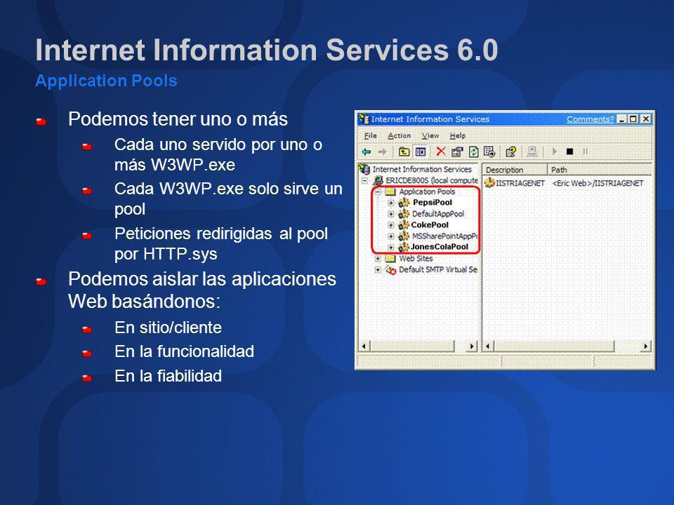 Internet Information Services 6.0 Application Pools Podemos tener uno o más Cada uno servido por uno o más W3WP.exe Cada W3WP.exe solo sirve un pool P