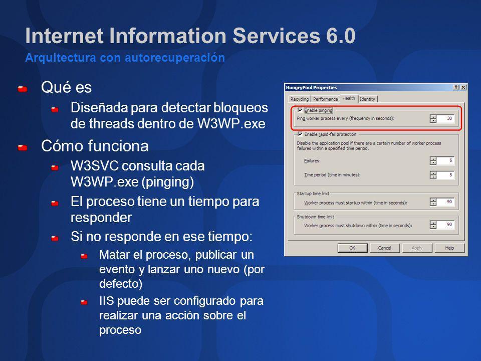 Internet Information Services 6.0 Detección de fallos y recuperación Detección de fallos W3SVC detecta casques en W3WP.exe W3SVC lanzará un nuevo W3WP.exe si es necesario Las peticiones son encoladas por HTTP.sys mientras se crea el nuevo W3WP Resultado: no existe interrupción en el servicio Protección Solo se permiten x fallos en y minutos El pool será detenido si se superan estos valores (error 503 para las peticiones)