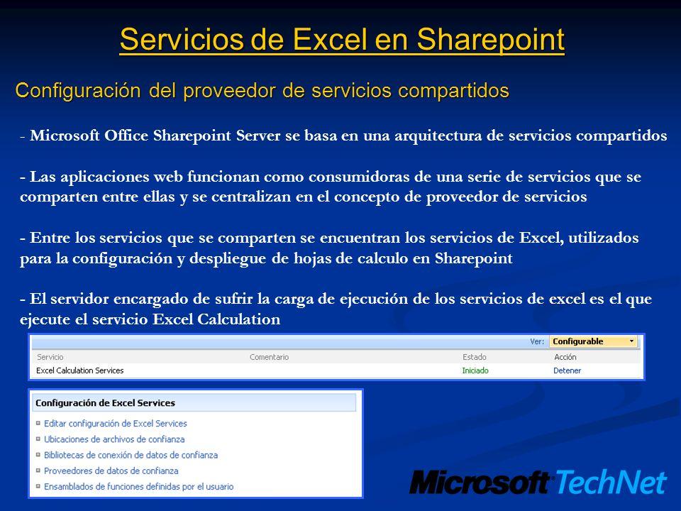 Servicios de Excel en Sharepoint Configuración del proveedor de servicios compartidos - Microsoft Office Sharepoint Server se basa en una arquitectura