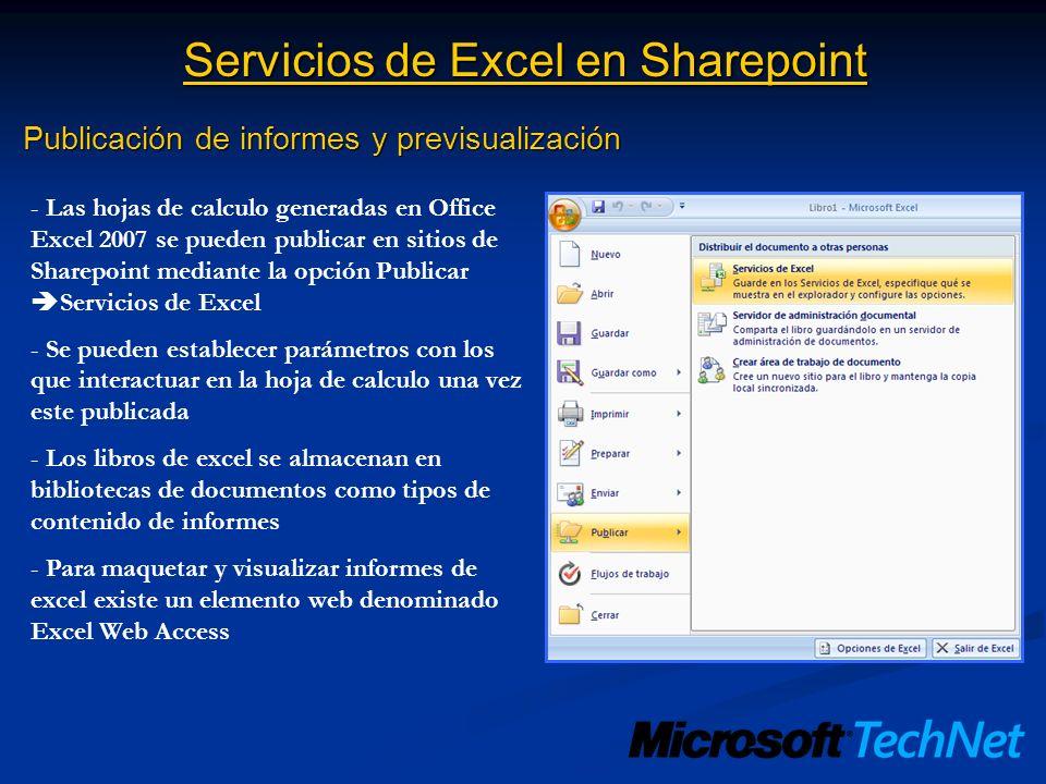 Servicios de Excel en Sharepoint Publicación de informes y previsualización - Las hojas de calculo generadas en Office Excel 2007 se pueden publicar e