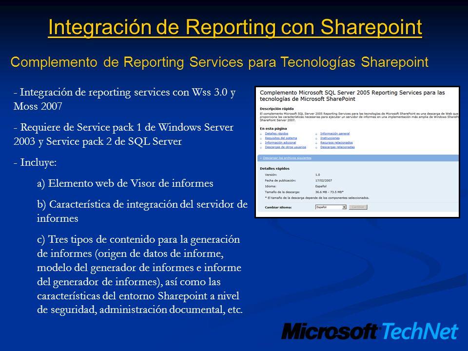 Integración de Reporting con Sharepoint Complemento de Reporting Services para Tecnologías Sharepoint - Integración de reporting services con Wss 3.0