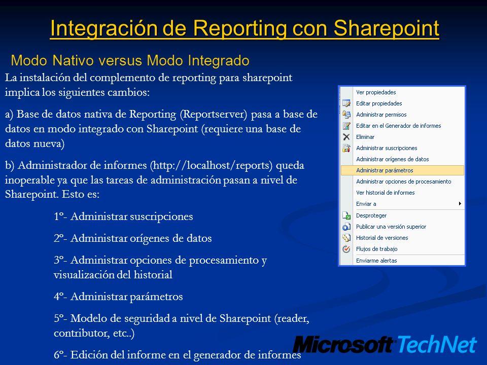 Integración de Reporting con Sharepoint Modo Nativo versus Modo Integrado La instalación del complemento de reporting para sharepoint implica los sigu