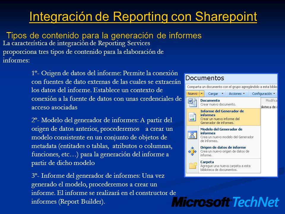 Integración de Reporting con Sharepoint Tipos de contenido para la generación de informes La característica de integración de Reporting Services propo