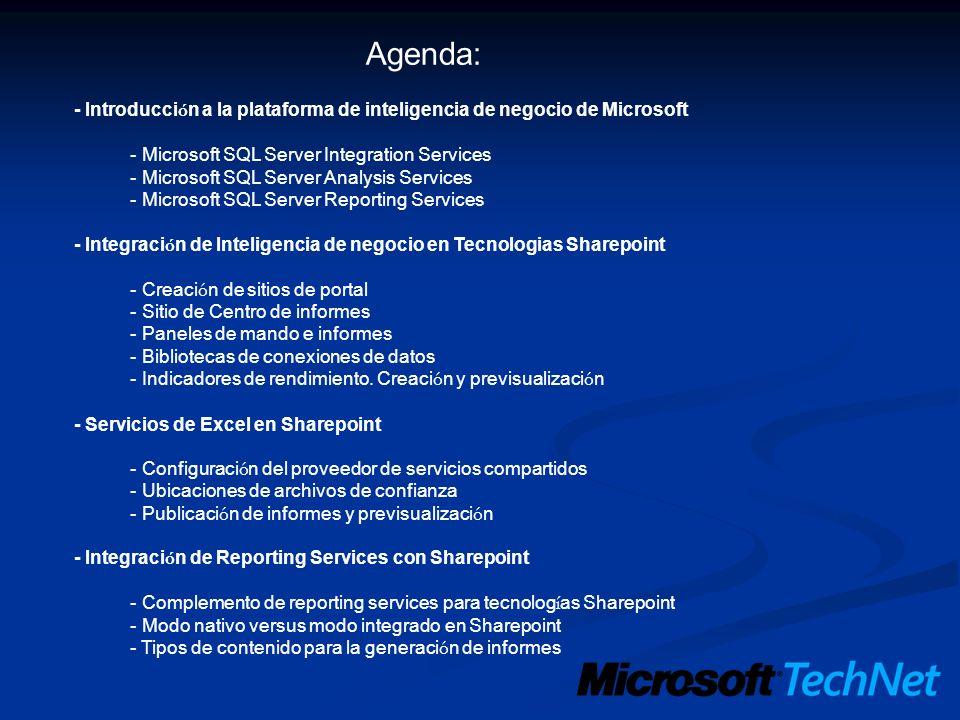 Agenda: - Introducci ó n a la plataforma de inteligencia de negocio de Microsoft - Microsoft SQL Server Integration Services - Microsoft SQL Server An