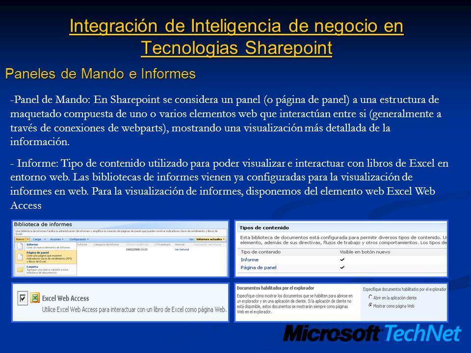 Integración de Inteligencia de negocio en Tecnologias Sharepoint Paneles de Mando e Informes -Panel de Mando: En Sharepoint se considera un panel (o p