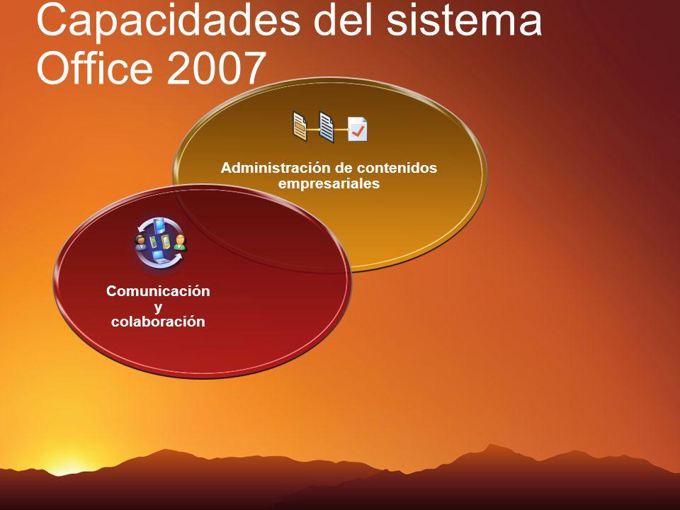 Capacidades del sistema Office 2007 Administración de contenidos empresariales Comunicación y colaboración