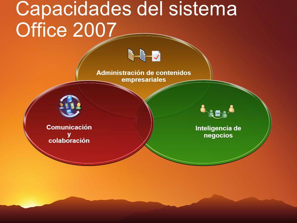 Capacidades del sistema Office 2007 Administración de contenidos empresariales Inteligencia de negocios Comunicación y colaboración