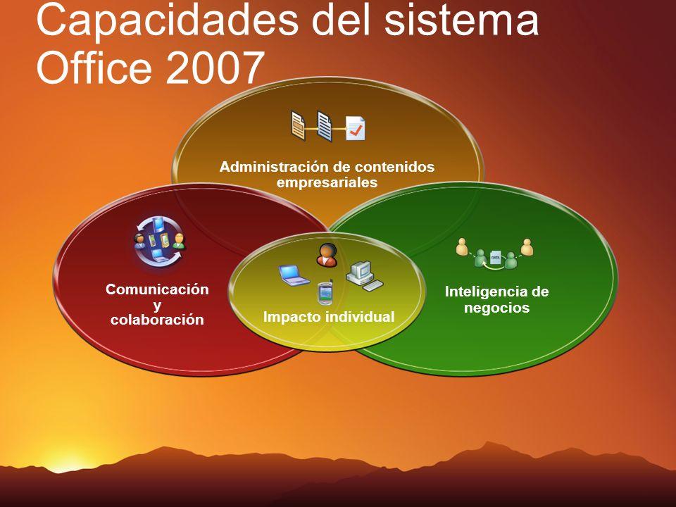 Capacidades del sistema Office 2007 Administración de contenidos empresariales Inteligencia de negocios Comunicación y colaboración Impacto individual