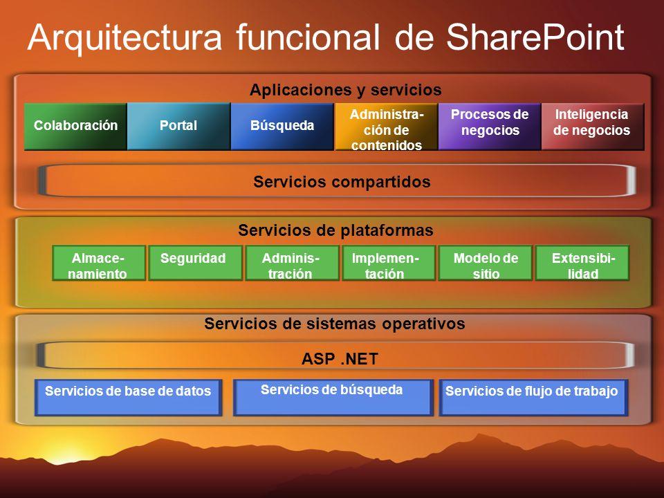 Servicios de sistemas operativos Servicios de plataformas Aplicaciones y servicios Colaboración Portal Búsqueda Administra- ción de contenidos Proceso