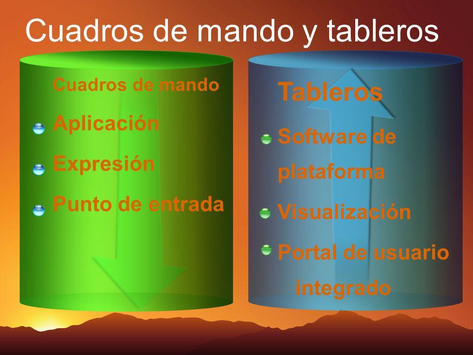 Cuadros de mando y tableros Tableros Software de plataforma Visualización Portal de usuario integrado Cuadros de mando Aplicación Expresión Punto de e