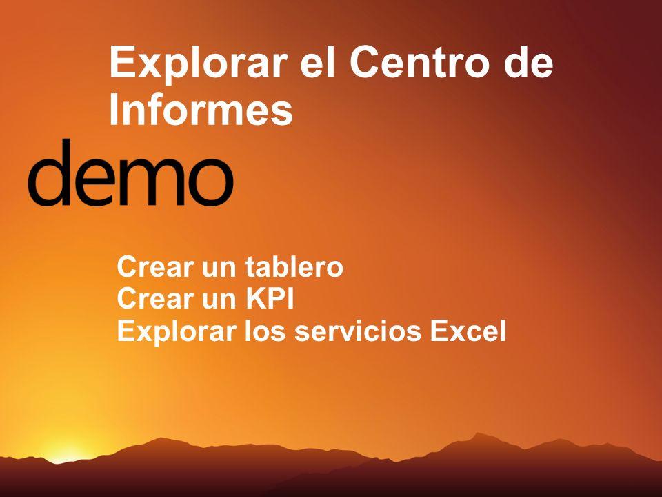 Crear un tablero Crear un KPI Explorar los servicios Excel Explorar el Centro de Informes