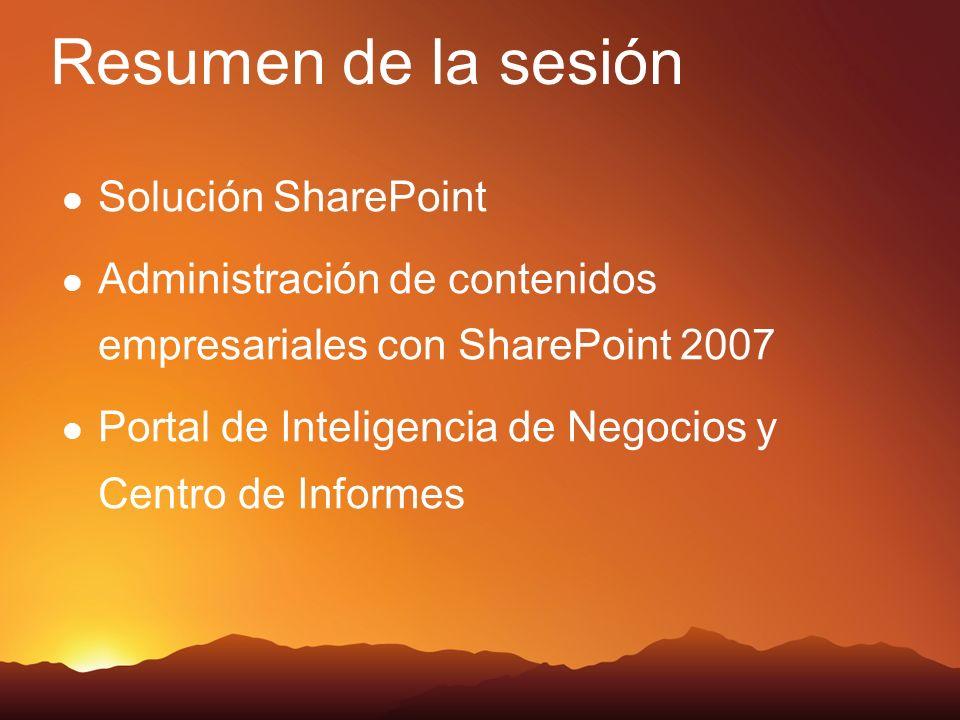 Solución SharePoint Administración de contenidos empresariales con SharePoint 2007 Portal de Inteligencia de Negocios y Centro de Informes Resumen de la sesión