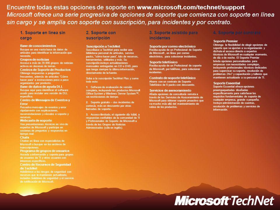 Encuentre todas estas opciones de soporte en www.microsoft.com/technet/support Microsoft ofrece una serie progresiva de opciones de soporte que comien