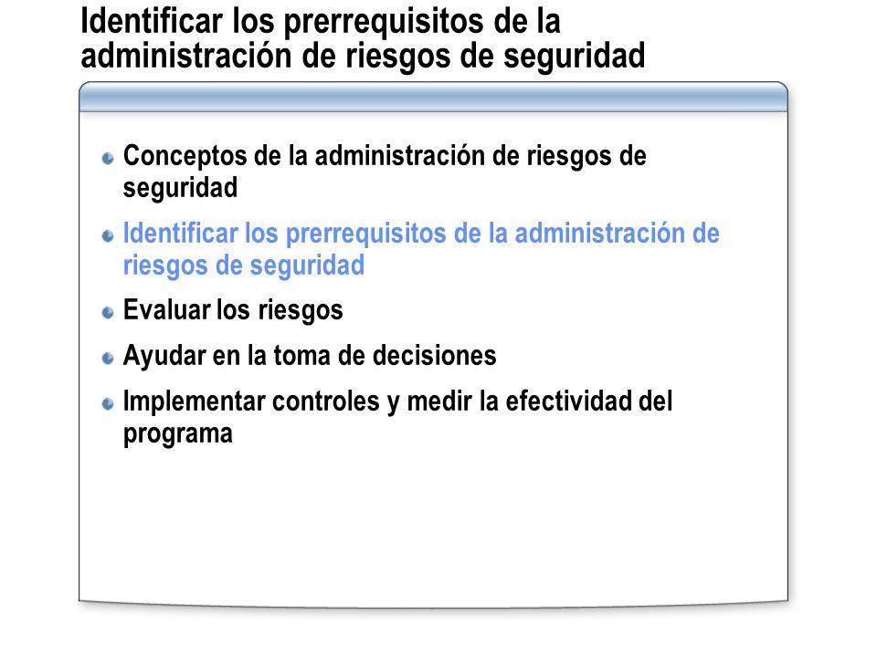 Identificar los prerrequisitos de la administración de riesgos de seguridad Conceptos de la administración de riesgos de seguridad Identificar los pre